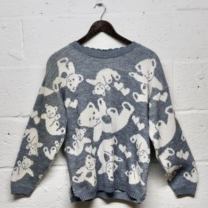 SALE Kawaii Teddy Bear Heart Light Blue Sweater